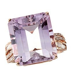 Effy 14k Rose Gold with 0.24 ct.t.w. Diamond Pink Amethyst Ring