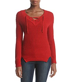 Ruff Hewn Lace Up V-Neck Sweater Top