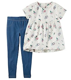 Carter's Girls' 4-8 Short Sleeve Floral Tunic and Jeggings Set