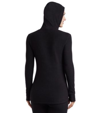 cuddl duds fleecewear with stretch long sleeve halfzip hoodie - Cuddleduds