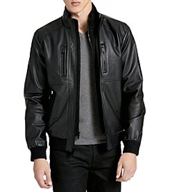 Calvin Klein Faux Leather Lamb Bomber Jacket