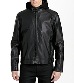 Calvin Klein Faux Leather Lamb Bomber Jacket With Hood