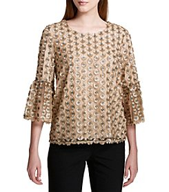 Calvin Klein Embroidered Net Bell-Sleeve Top