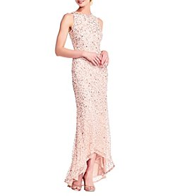 Adrianna Papell Beaded Halter High Low Dress