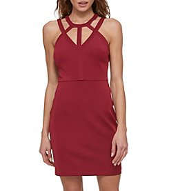 GUESS Cut Out Neck Scuba Knit Dress