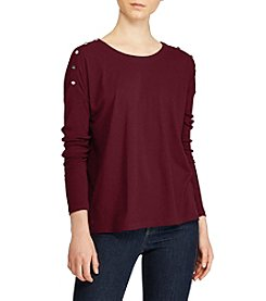 Lauren Ralph Lauren Button-Shoulder Jersey Top