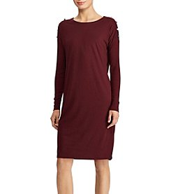Lauren Ralph Lauren Button Shoulder Jersey Dress