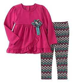 Kids Headquarters® Girls' 12M-6X 2 Piece Long Sleeve Top and Leggings Set