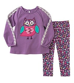 Kids Headquarters® Girls' 12M-6X 2 Piece Long Sleeve Owl Top and Leggings Set