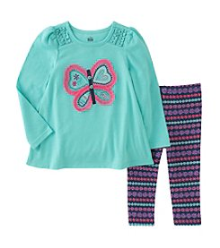 Kids Headquarters® Girls' 12M-6X 2 Piece Long Sleeve Butterfly Top and Leggings Set