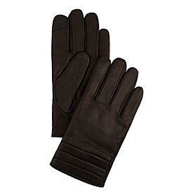 Calvin Klein Leather Quilted Cuff Gloves