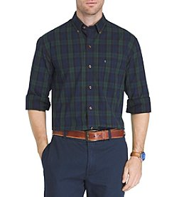 IZOD Men's Big & Tall Holiday Tartan Long Sleeve Button Down