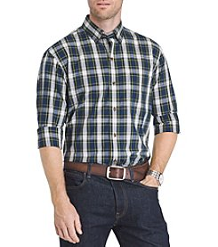 IZOD Men's Big & Tall Holiday Tartan Plaid Long Sleeve Button Down