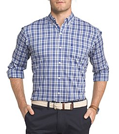 IZOD Men's Big & Tall Plaid Long Sleeve Button Down