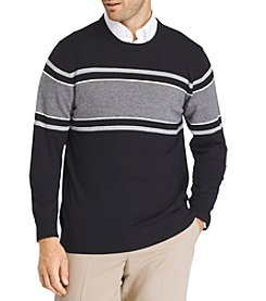 IZOD Men's Big & Tall Durham Striped Crew Sweater