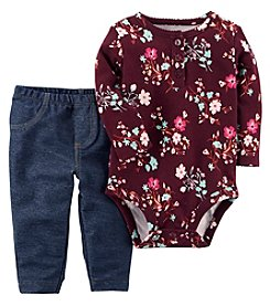 Carter's Baby Girls' 2 Piece Floral Bodysuit And Faux Denim Pants Set