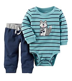 Carter's Baby Boys' 2 Piece Striped Dog Graphic Bodysuit And Pants Set