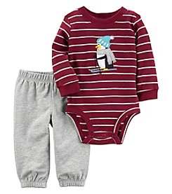 Carter's Baby Boys' 2 Piece Striped Penguin Bodysuit And Pants Set