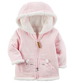 Carter's Baby Girls' 3M-24M Bear Face Pocket Faux Sherpa Hooded Jacket