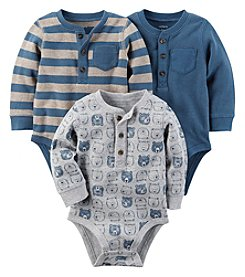 Carter's Baby Boys' 3-Pack Long Sleeve Print Striped Bodysuits
