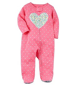Carter's Baby Girls' 0-9M Zip Up Heart Cotton Sleep And Play