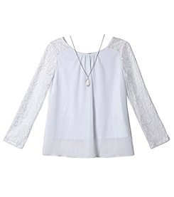 A. Byer Girls' 7-16 Crewneck Lace Sleeve Blouse