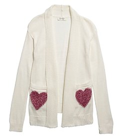 Jessica Simpson Girls' 7-16 Heart Pocket Cardigan