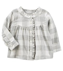OshKosh B'Gosh Baby Girls' Plaid Ruffle Top