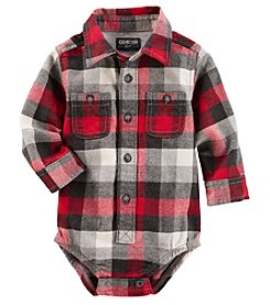 OshKosh B'Gosh Baby Boys' Long Sleeve Plaid Flannel Bodysuit