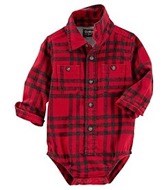 OshKosh B'Gosh Baby Boys' Long Sleeve Button Front Flannel Bodysuit