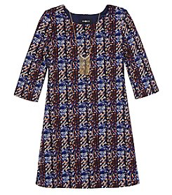 A. Byer Girls' 7-16 Plaid 3/4 Sleeve Dress