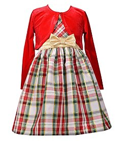 Gerson Girls' 7-16 Plaid Dress And Cardigan Set