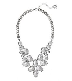Erica Lyons Silvertone Crystal Princess Bib Necklace