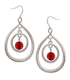 Erica Lyons Silvertone Orbital Drop Earrings