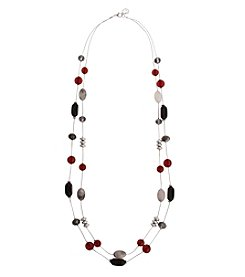 Erica Lyons Silvertone Long Multi 2 Row Necklace