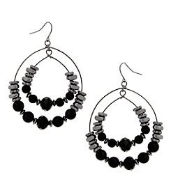 Erica Lyons Sivlertone Double Loop Drop Earrings