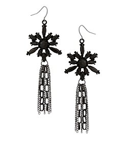 Erica Lyons Hematite Star Jet Drop Earrings