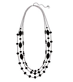 Erica Lyons Hematite Jet Long 3-Row Necklace