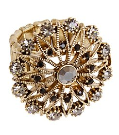 Erica Lyons Goldtone Flower Crystal Ring