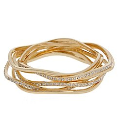 Erica Lyons Goldtone Crystal Bangle Bracelet