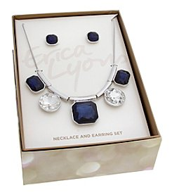 Erica Lyons Blue and Silvertone Gem Necklace and Earrings Set