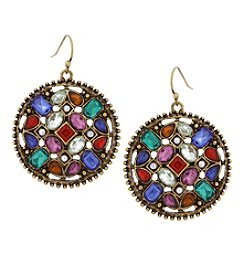 Erica Lyons Goldtone Multicolor Disc Earrings