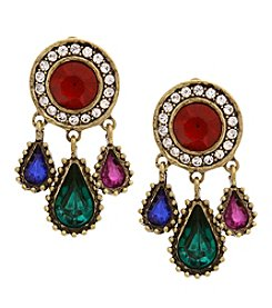 Erica Lyons Goldtone Multicolor Clip-On Earrings