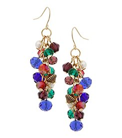 Erica Lyons Goldtone Multicolor Cluster Earrings