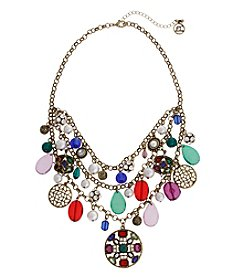 Erica Lyons Goldtone Multicolor 3-Row Shaky Necklace