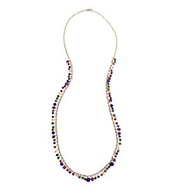 Erica Lyons Goldtone Multicolor Long Shaky Necklace