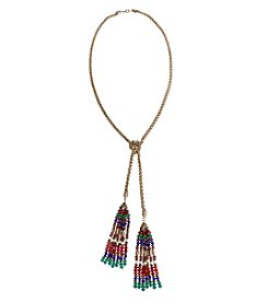 Erica Lyons Goldtone Multicolor 2-Tassel Necklace