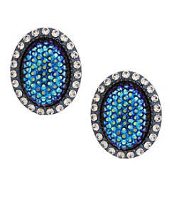 Erica Lyons Hematite Button Clip Earrings