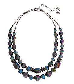 Erica Lyons Hematite Multi 2 Row Necklace