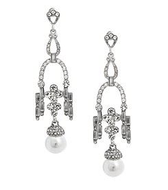 Erica Lyons Silvertone Pearl Drop Earrings